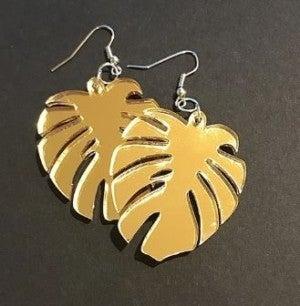 Palm Leaf Mirror Gold Earrings