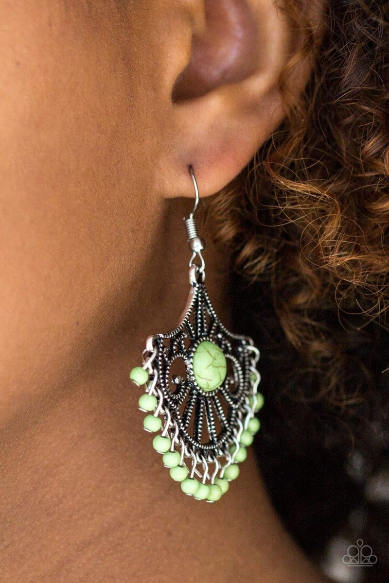 Green Crackle Earrings 1 e215