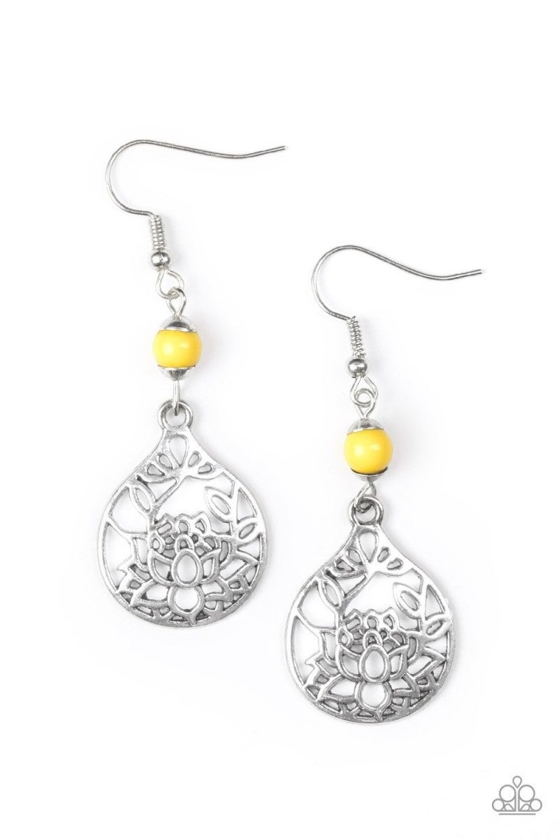 Yellow Bead Earrings 3 e270