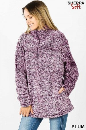 Crazy For Plum Soft Sherpa Half Zip W/Side Pockets