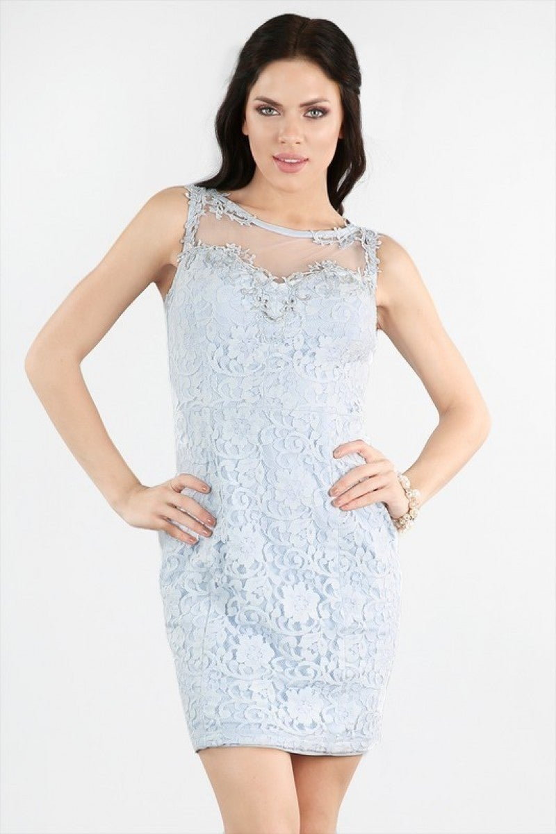 Beaded Sheer Yoke Lace Dress