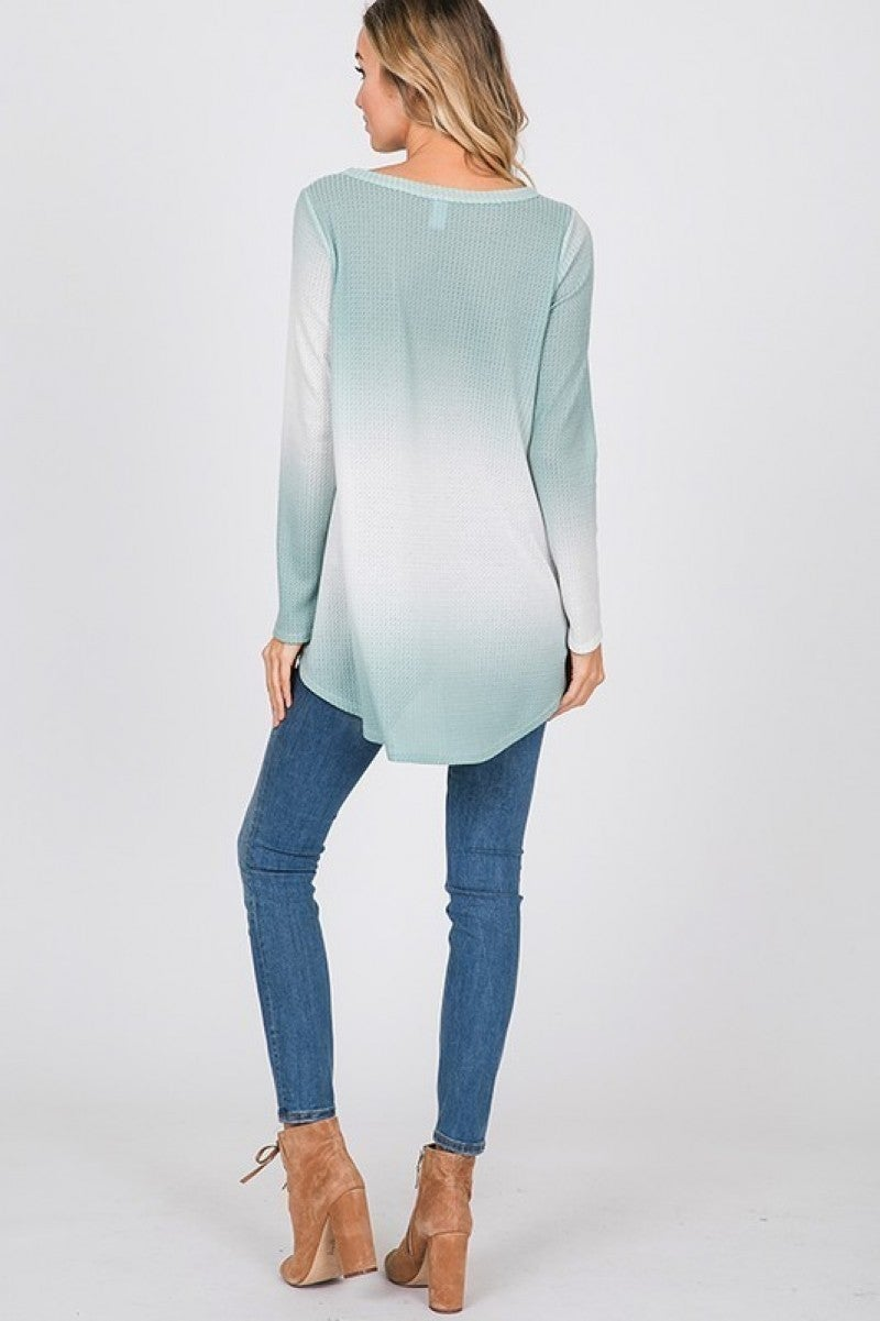 Tie Dye Long Sleeve Top with Knot Hem