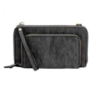 Brushed Mini Convertible Zip Around Wristlet Crossbody