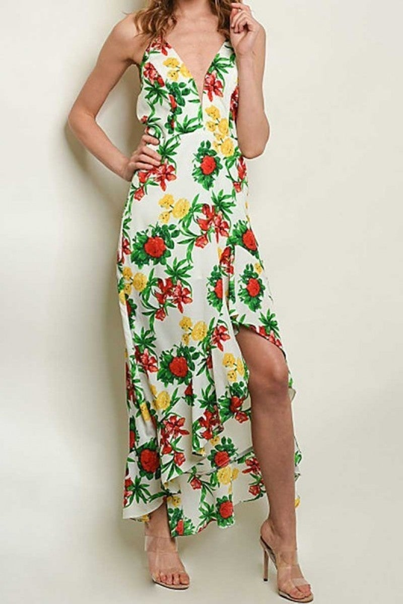 SLEEVELESS V NECKLINE HIGH LOW FLORAL PRINT MAXI DRESS
