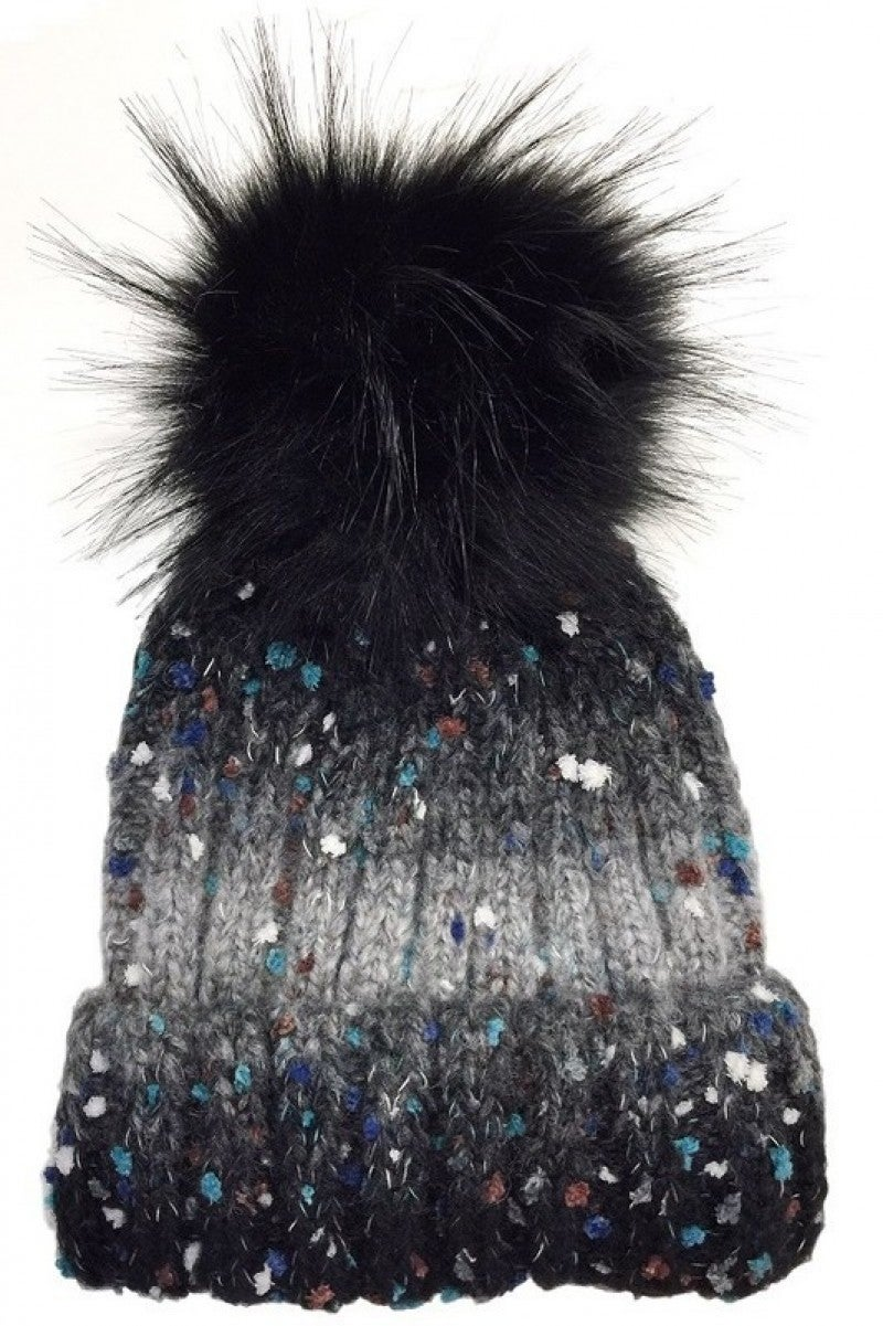 Speckled ombre pompom beanie