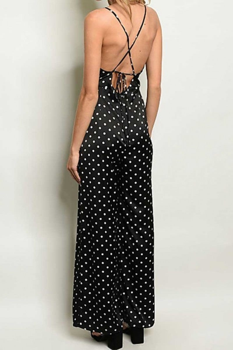 Sleeveless Polka Dot Jumpsuit