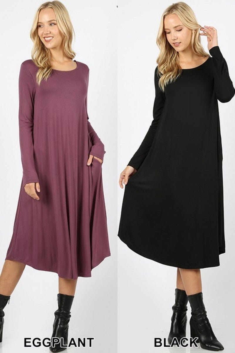 LONG SLEEVE ROUND NECK POCKET DRESS