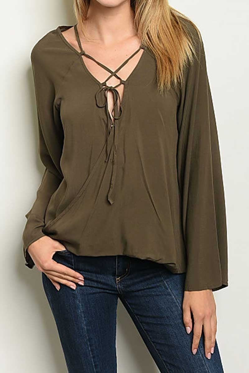 LONG SLEEVE V NECKLINE DRAPE FRONT TUNIC BLOUSE