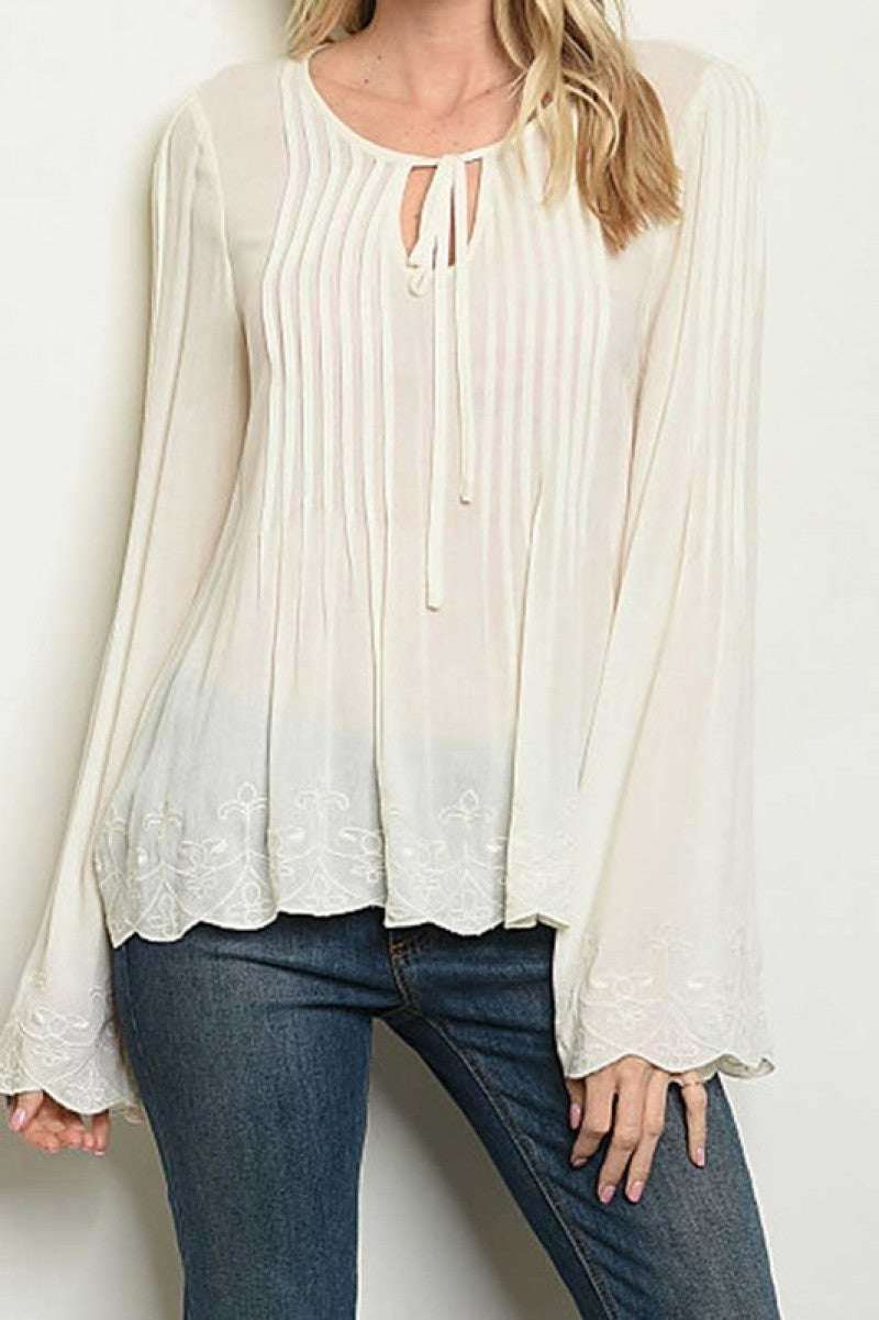 LONG BELL SLEEVE SCOOP NECKLINE TUNIC BLOUSE