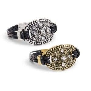 Rhinestone Filigree Disk Bracelets