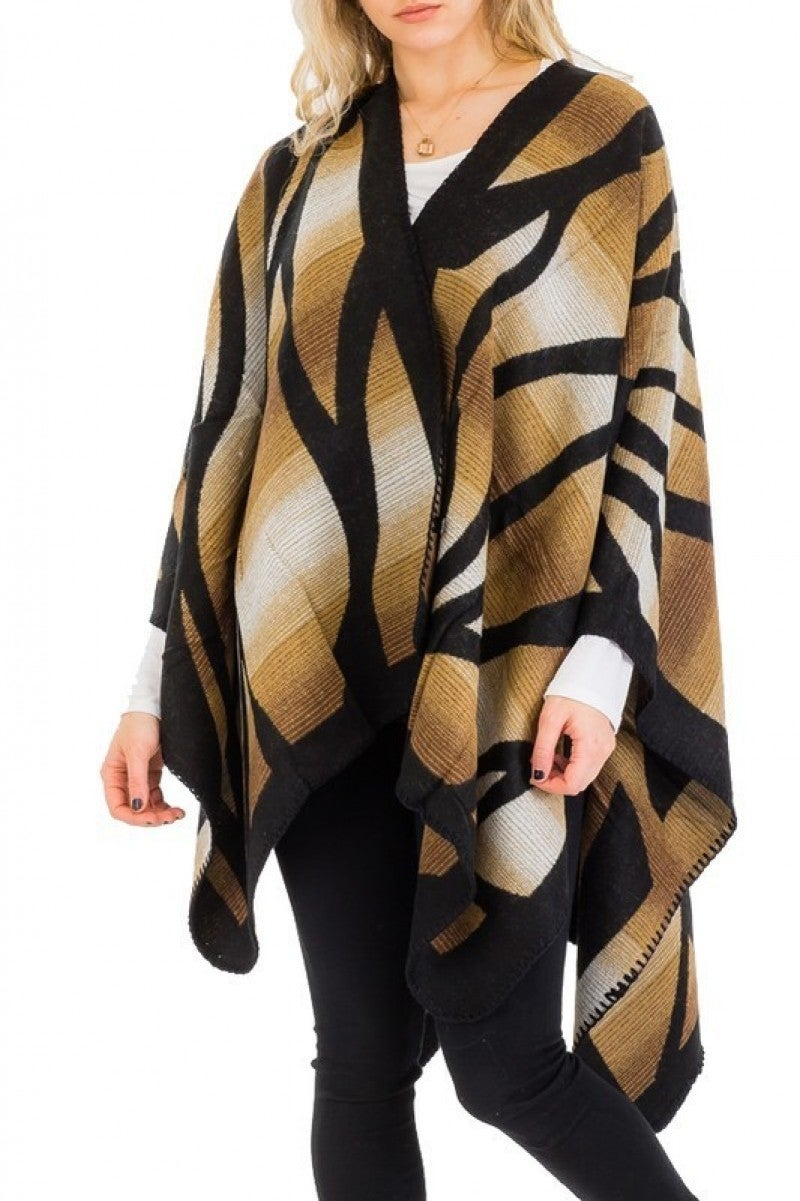 Feline Fine Animal Stripe Open Poncho