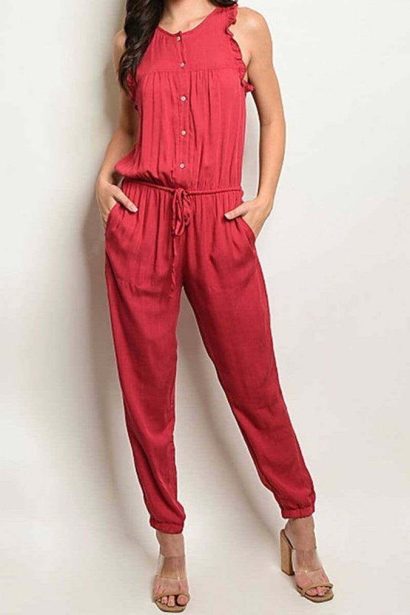 Sleeveless Smock Waist Jumpsuit