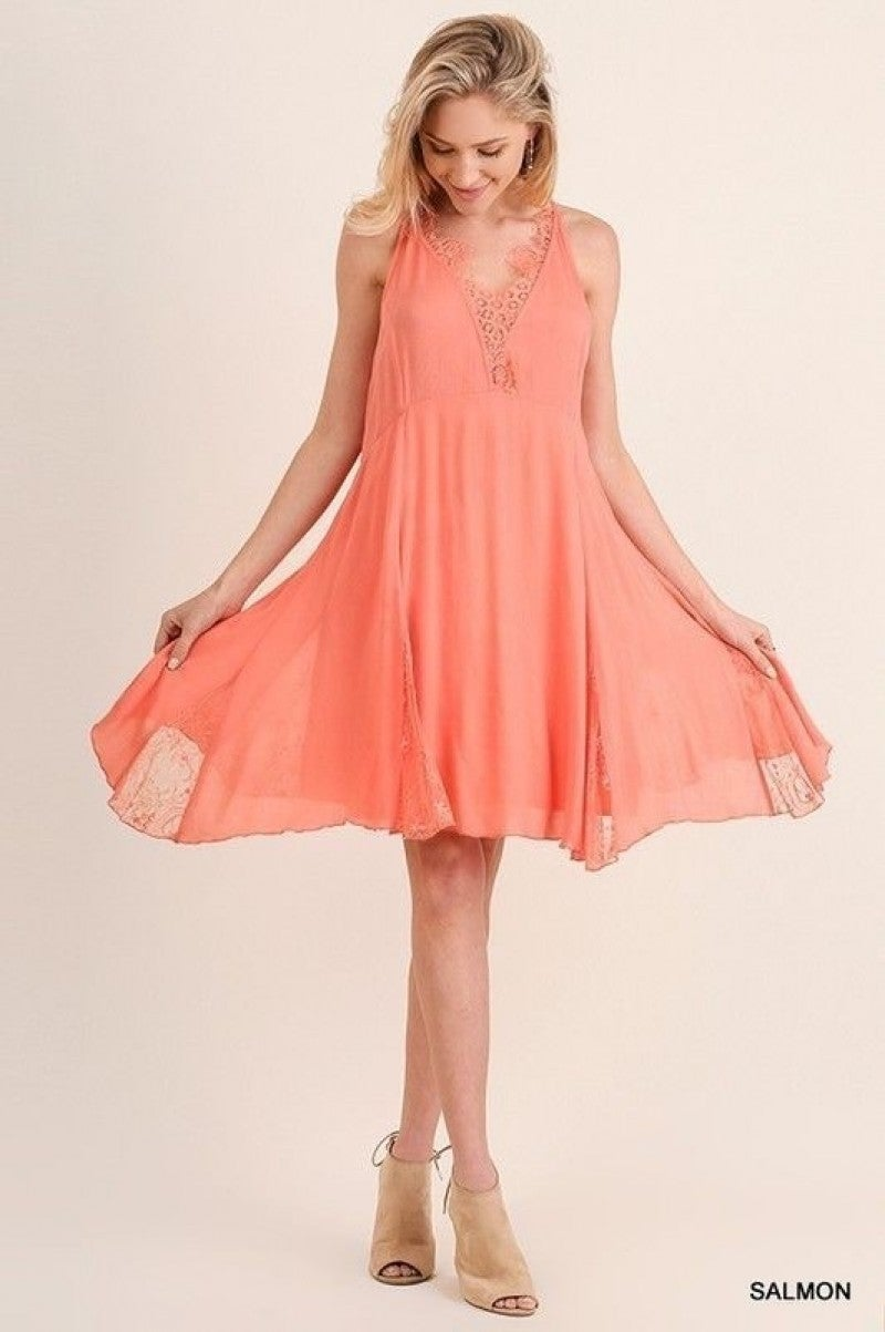 Umgee Salmon Sleeveless Babydoll Dress