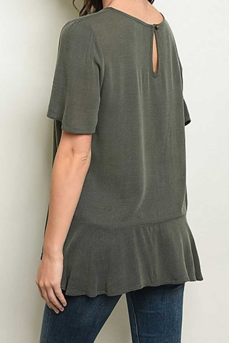 SHORT SLEEVE SCOOP NECKLINE BUTTON DETAIL TUNIC TOP