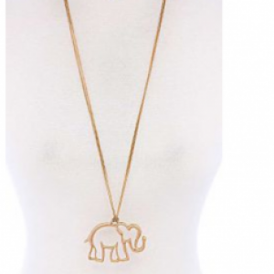 Elephant Silhouette Pendant Necklace and Earring Set