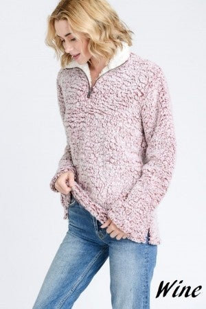 Soft Sherpa Fleece Zip up Pull Over Sweater