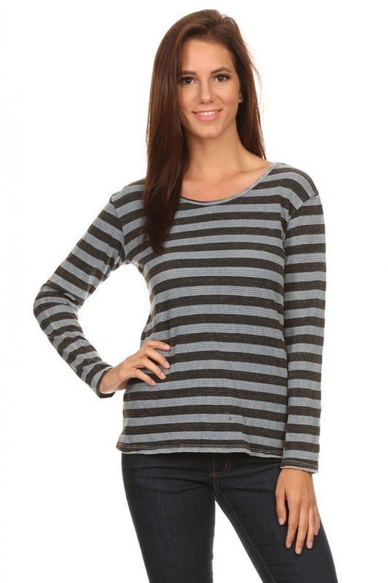Striped Scoup Neck Relaxed Style Top