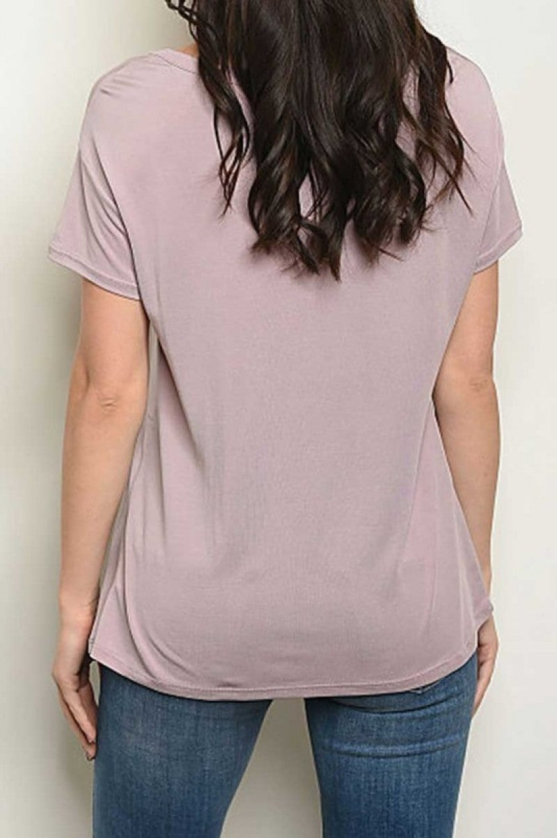 Short Sleeve Round Neckline Tie Detail Top