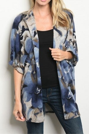 Open Front Floral Print Cardigan