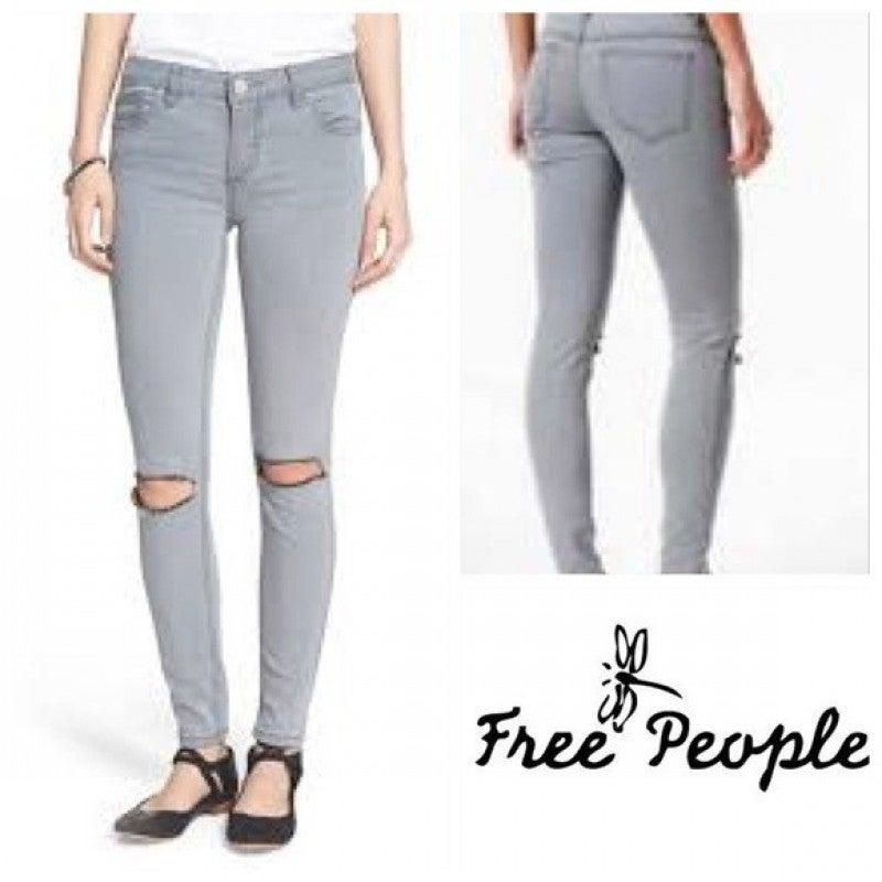 Free People Destroyed Skinny Jeans Coal