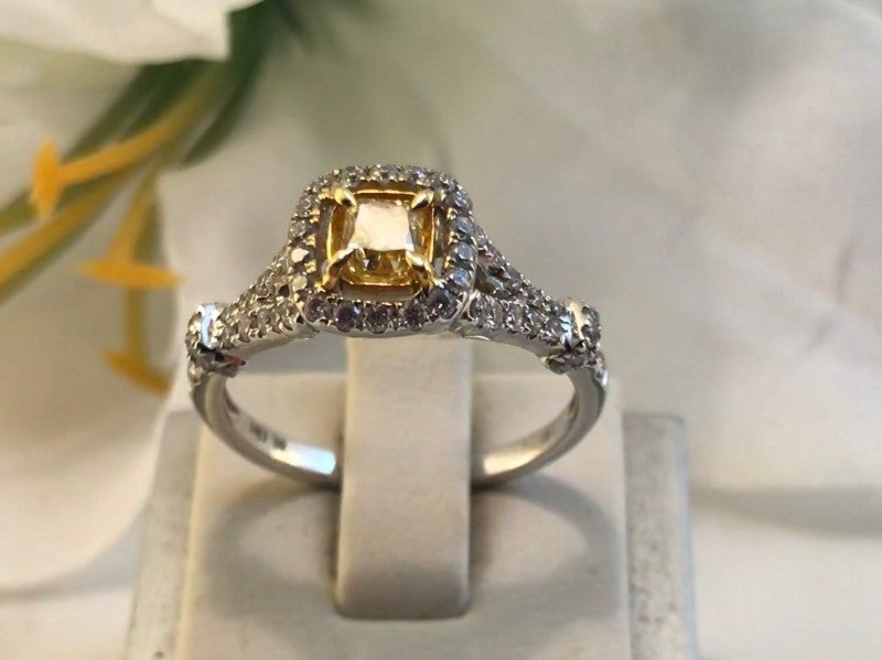 Fancy Natural Yellow Diamond Halo Ring 18K