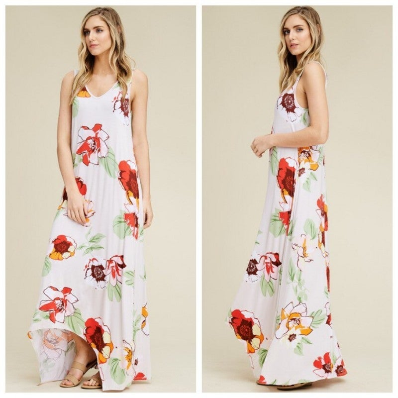 Floral Sleeveless Tank Hi Lo Scoop Neck Maxi Dress