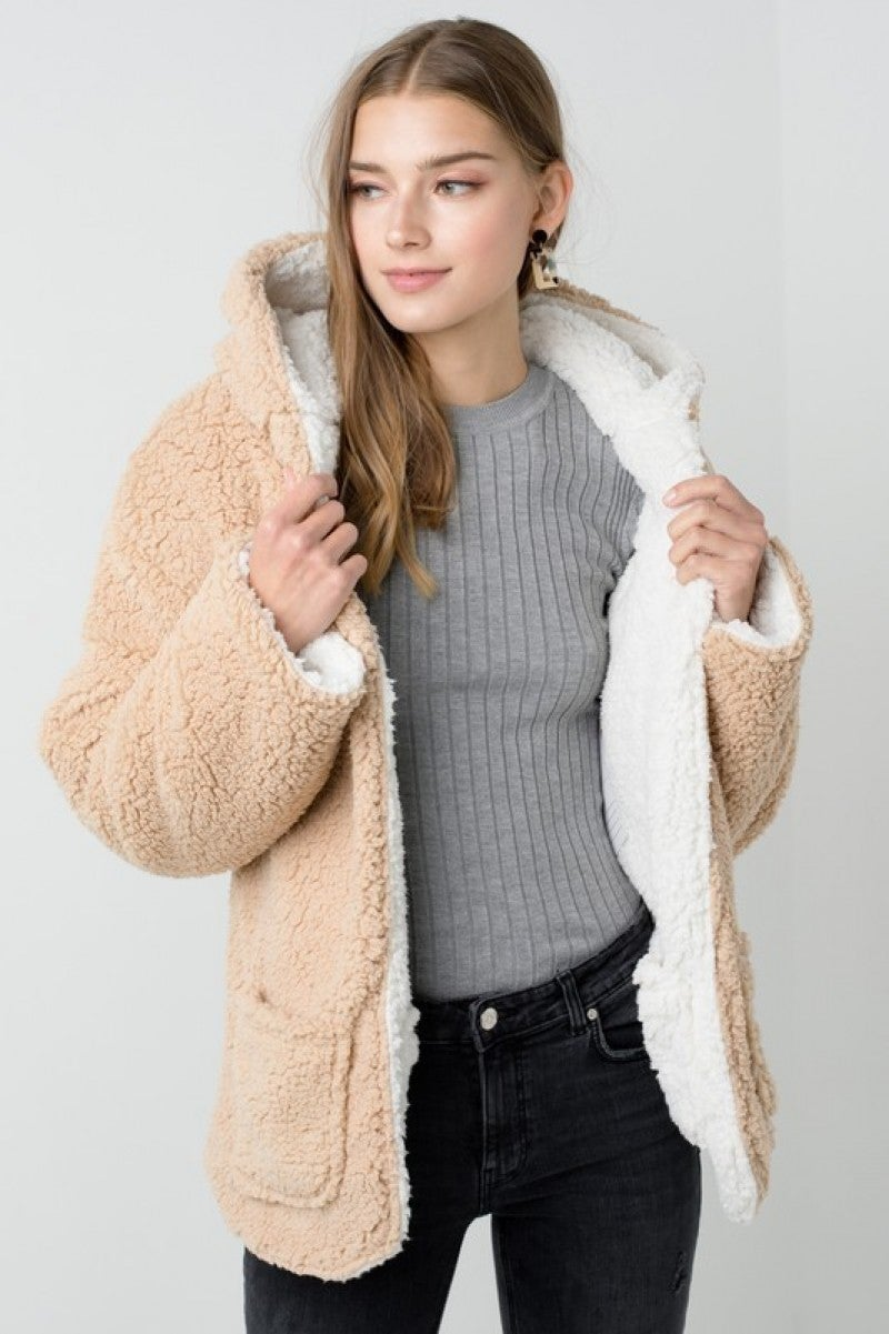 Reversible Teddy Faux Fur Sherpa Fleece Jacket