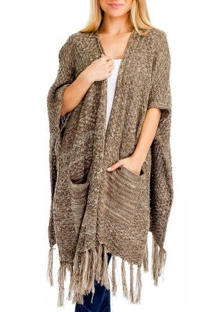 Pocketed Knit Long Vest styled Poncho