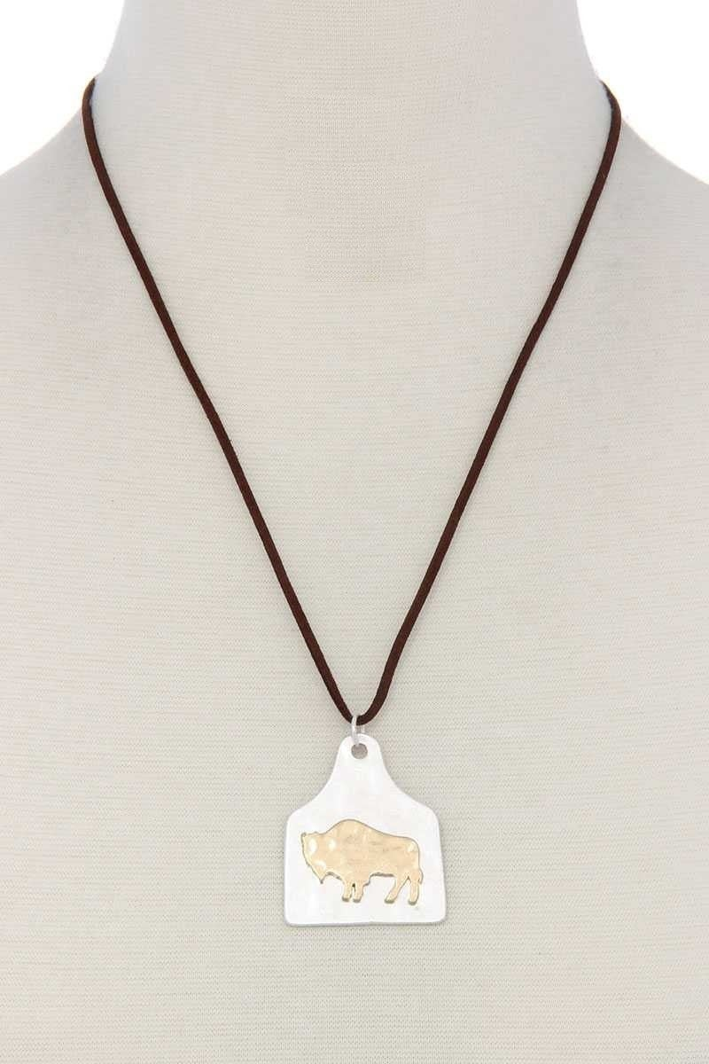 Buffalo Charm Cow Tag Necklace