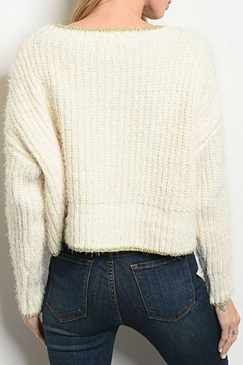LONG SLEEVE SCOOP NECK RELAXED SWEATER