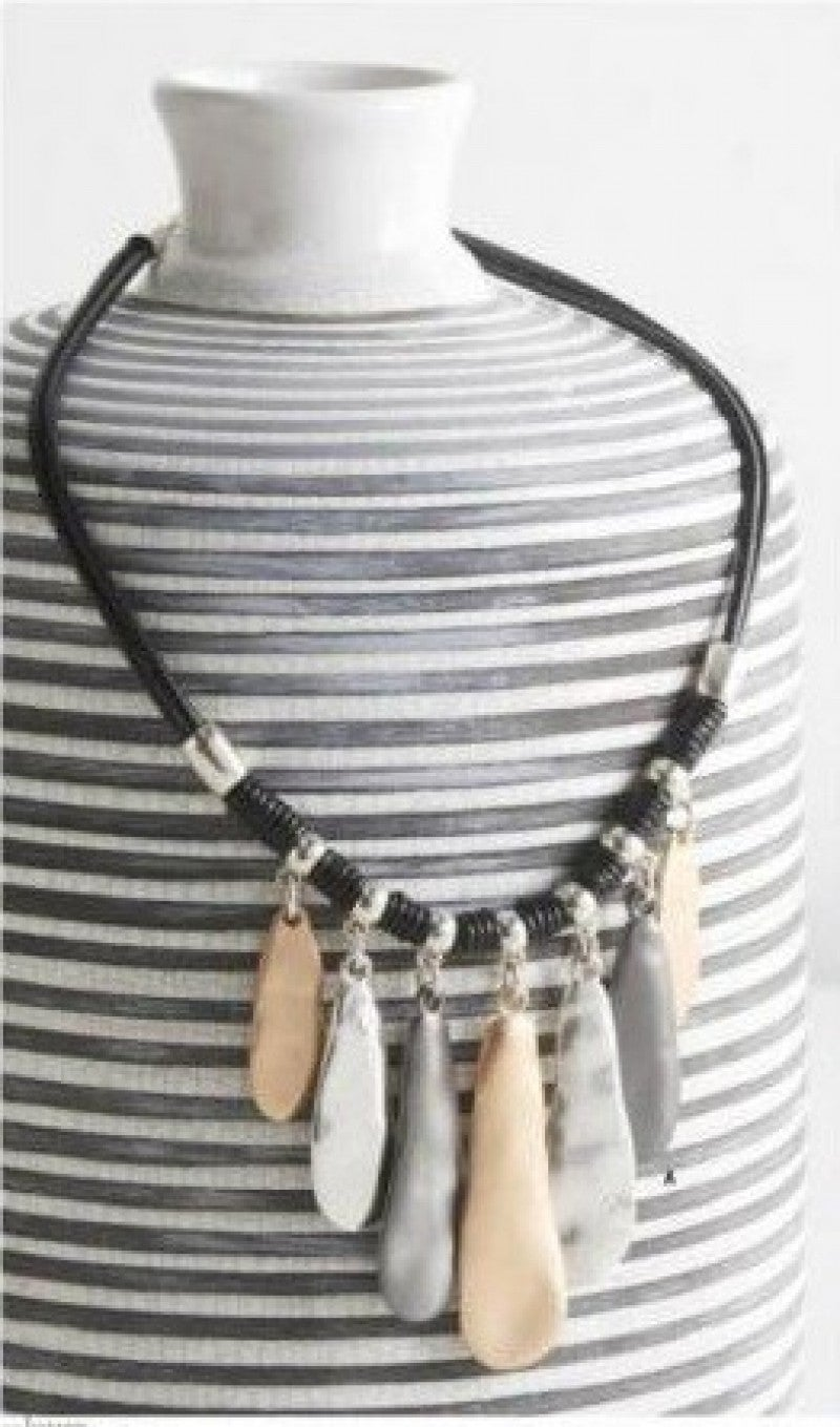 Gunmetal Gold Silver Drop Necklace