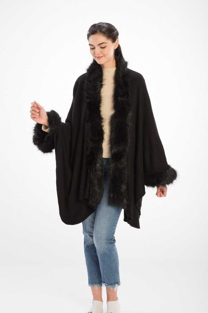 FUR TRIM SHAWL WITH SLEEVES