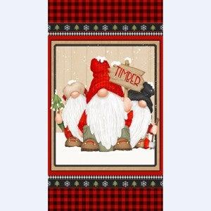24-inch x 44-inch Cotton Fabric Panel Timber Gnomies, Gnome Trio