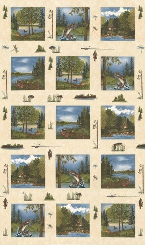 "24"" Fabric Panel,  Lake Views,  Ecru"