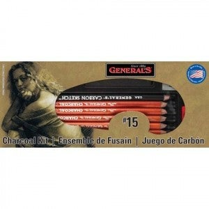 """General's  #15 Charcoal Kit - """"The Original"""" Charcoal Drawing Kit 12 Piece Kit"""