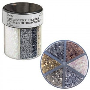 Darice® 6-Color Shaped Glitter Caddy: Metallic Hearts & Stars