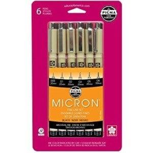 Micron Pigma Marker Set, 6 Piece, Black, Sizes 005,01,02,03,05,08