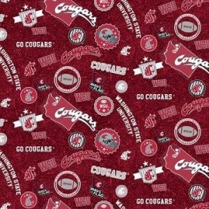 1 Yard College Cut Fabric, Washington State University Logo Toss on Red