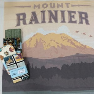 National Parks Mount Rainier National Park Poster Panel and 4 Coordinating Prints Bundle