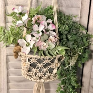 Dogwood and Greenery in Macrame Plant Hanger