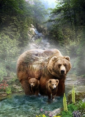 """43"""" x 33"""" Fabric Panel, Call of the Wild, Grizzlies"""