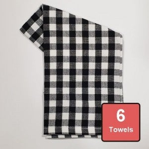 Black Check on White Cotton Tea Towels 6pc