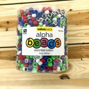 Assorted Colors and Letters Pony Beads Value Pack 16 oz.
