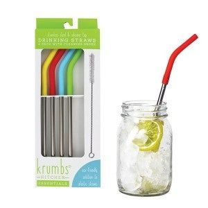 Stainless Steel & Silicone Drinking Straws with Cleaning Brush, 4 Straws and 1 Cleaning Brush