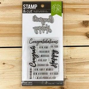 Hero Arts- Congrats Happy Stamp & Die Cut Set