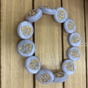 18mm Coin with Lotus Flower- Lavender with Bronze Wash