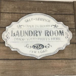 """Metal Service Laundry Room Sign, 22"""" x 14-1/2"""""""