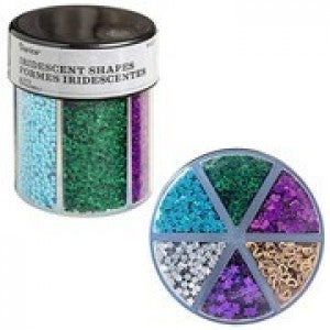 Darice® 6-Color Shaped Glitter Caddy: Dark Hearts & Stars