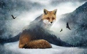 "43"" x 27"" Fabric Panel, Call of the Wild, Fox"
