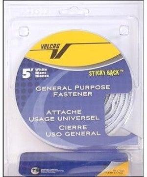 "Stickyback Velcro Tape Roll, White, 3/4"" x 5'"